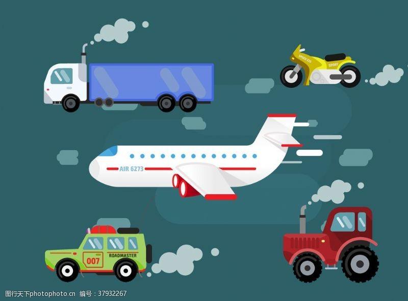 卡通设计扁平化交通工具组合