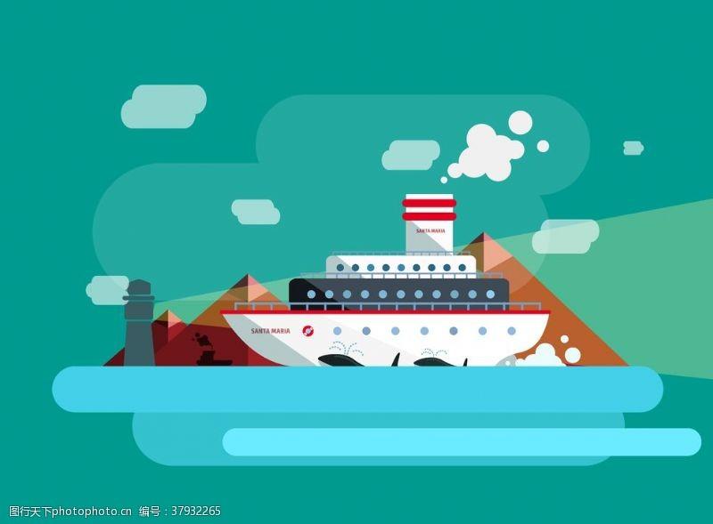 卡通设计扁平化轮船