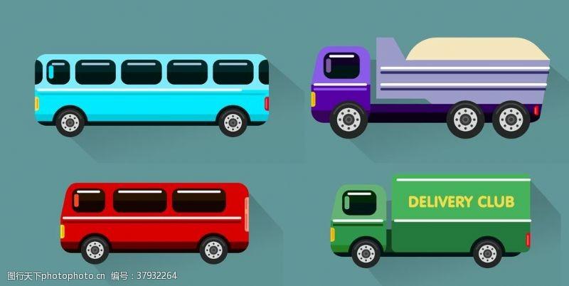 卡通设计扁平化汽车组合
