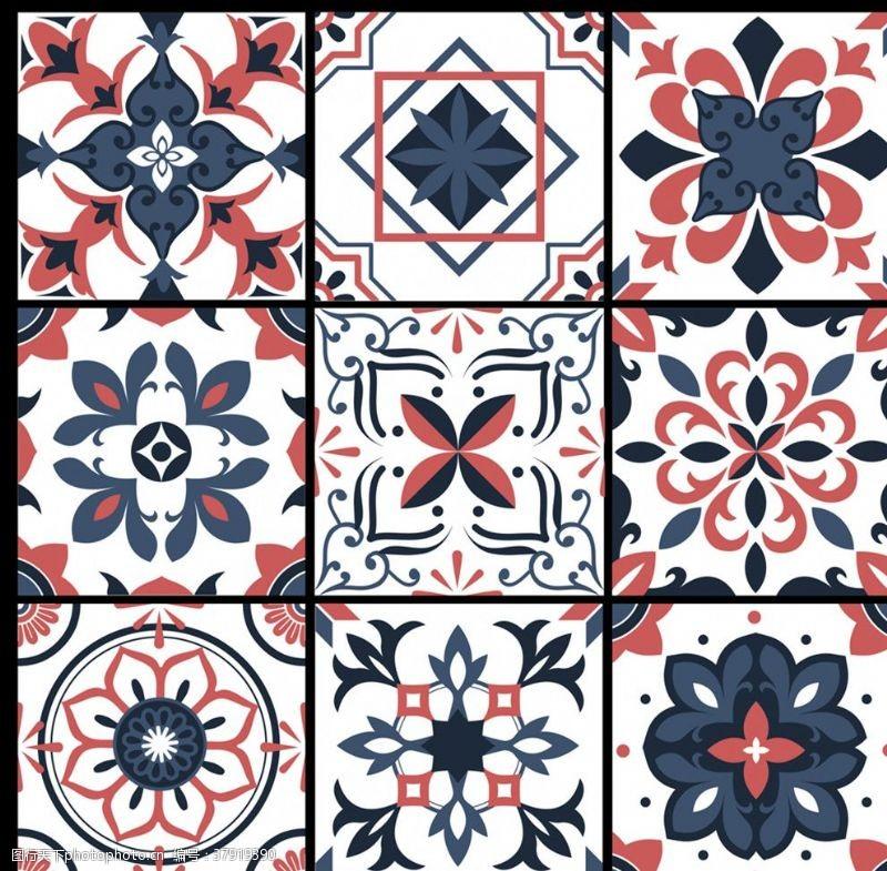 矢量图创意花纹方砖