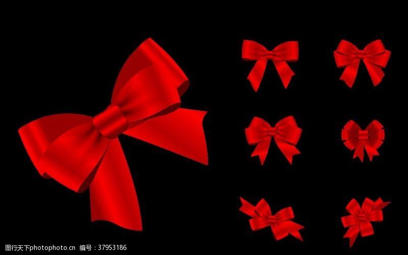 ai元素红色蝴蝶结装饰高品质AI矢量