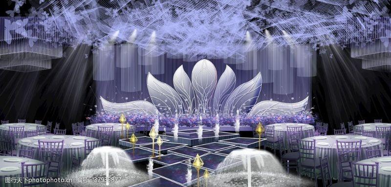 室内紫色婚礼效果图