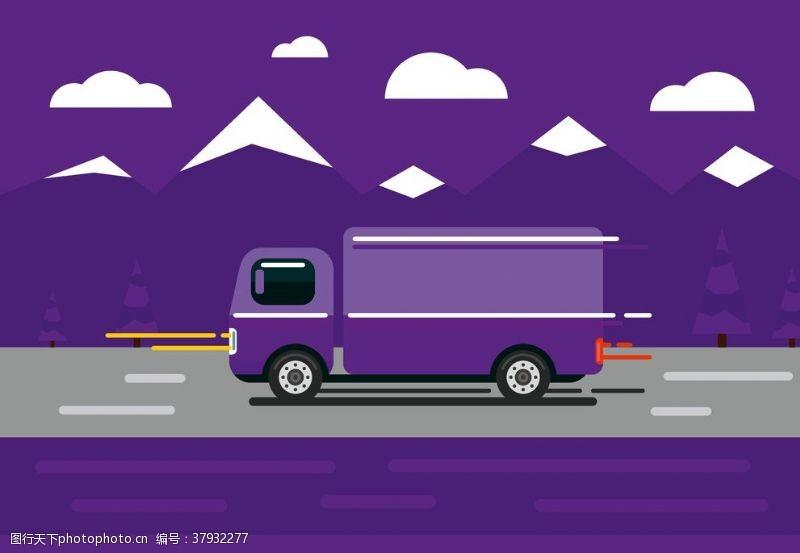 卡通设计扁平化货车