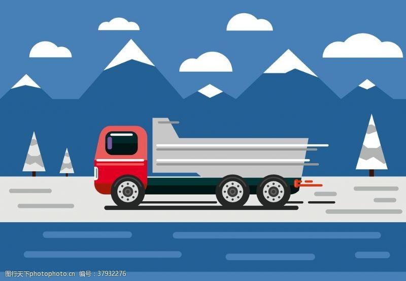 卡通设计扁平化卡车
