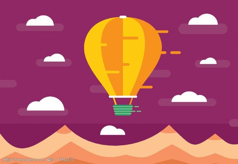 卡通设计扁平化热气球