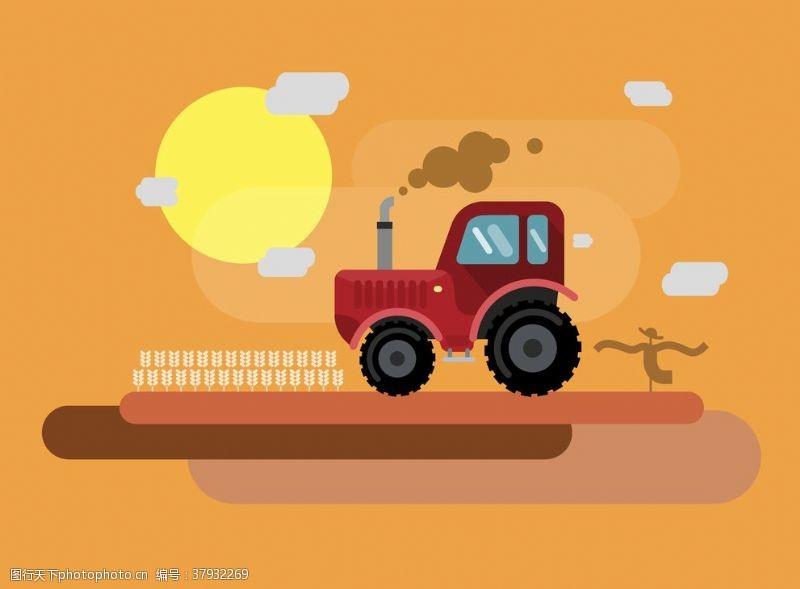 卡通设计扁平化拖拉机