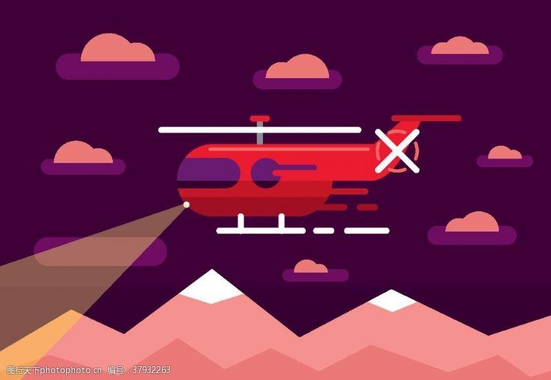 卡通设计扁平化直升机
