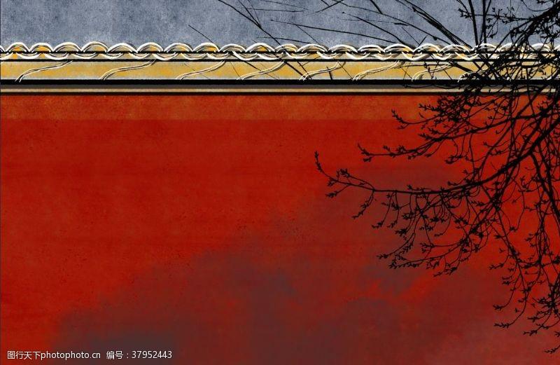 城墙故宫传统国风插画卡通背景