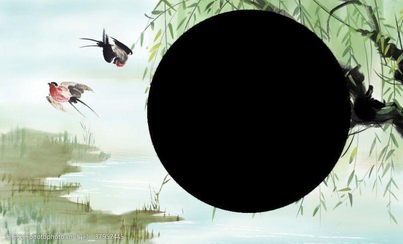 春季燕子柳树清新插画卡通背景