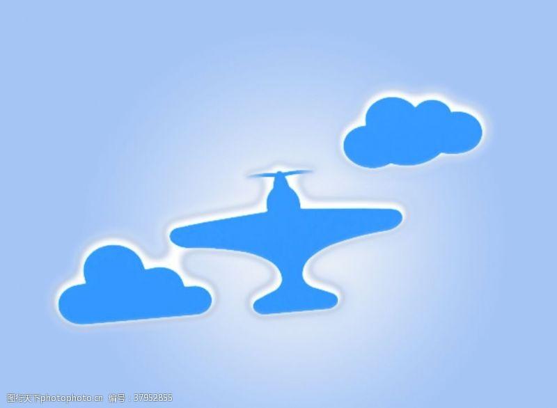 廣告設計飛機云朵藍天白云
