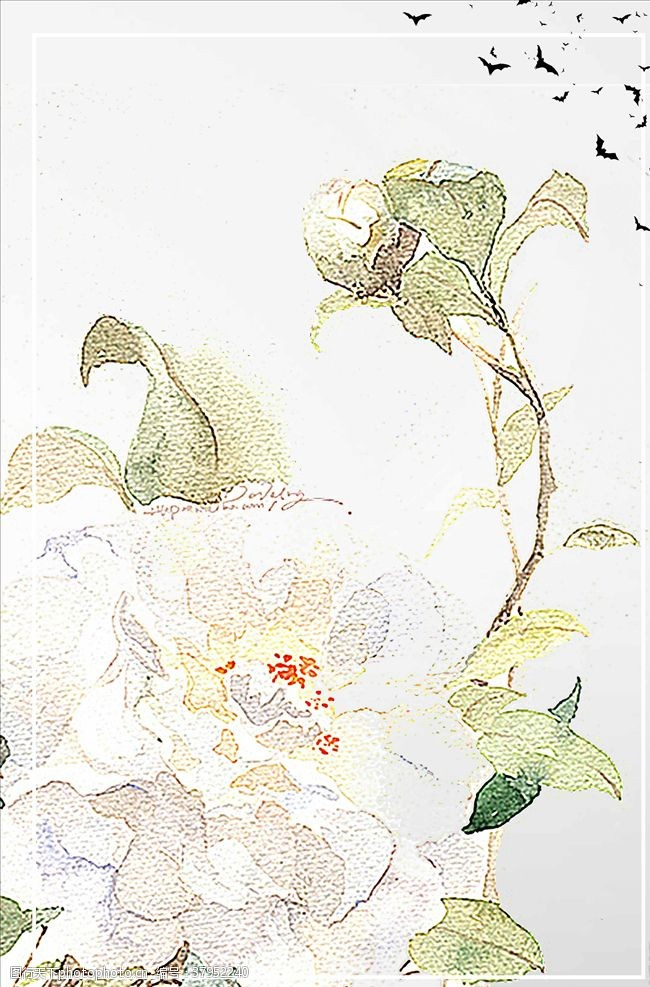 復古中國風古裝風景廣告設計背景