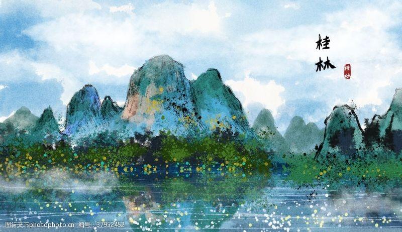 桂林景点国风插画卡通背景