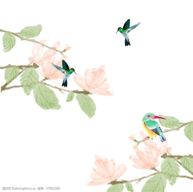 花卉飞鸟印花面料水墨山水