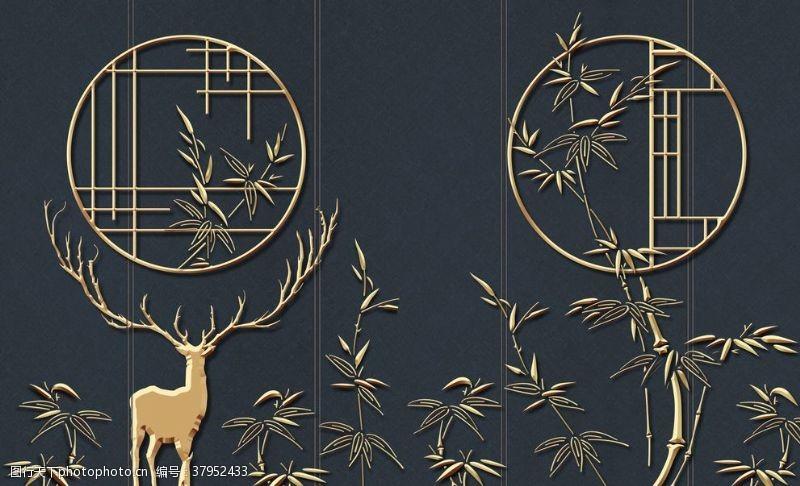 金色窗花小鹿国风传统插画背景