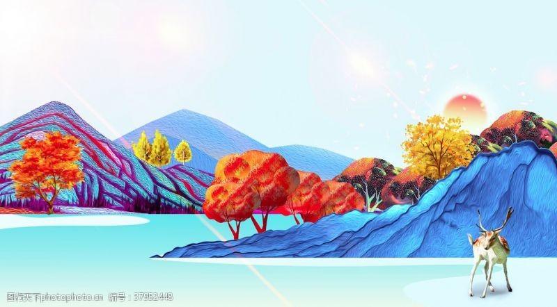 山水色彩地产插画卡通背景