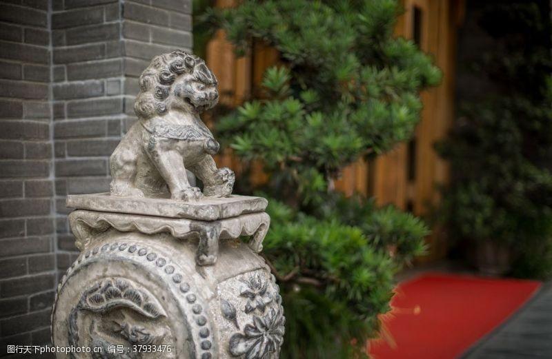 石狮石像雕像传统文化背景素材