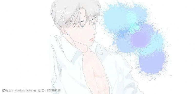 蓝眼睛夏季清凉动漫帅哥