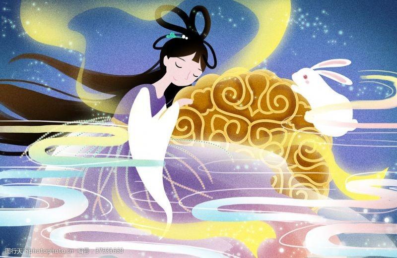 中秋月饼嫦娥插画卡通背景素材