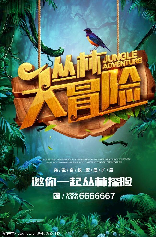 海报设计丛林大冒险