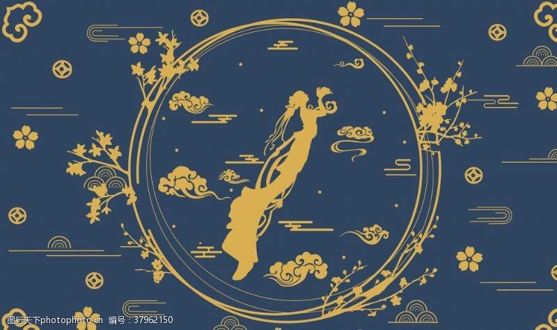 敦煌壁画仙女人物插画卡通背景