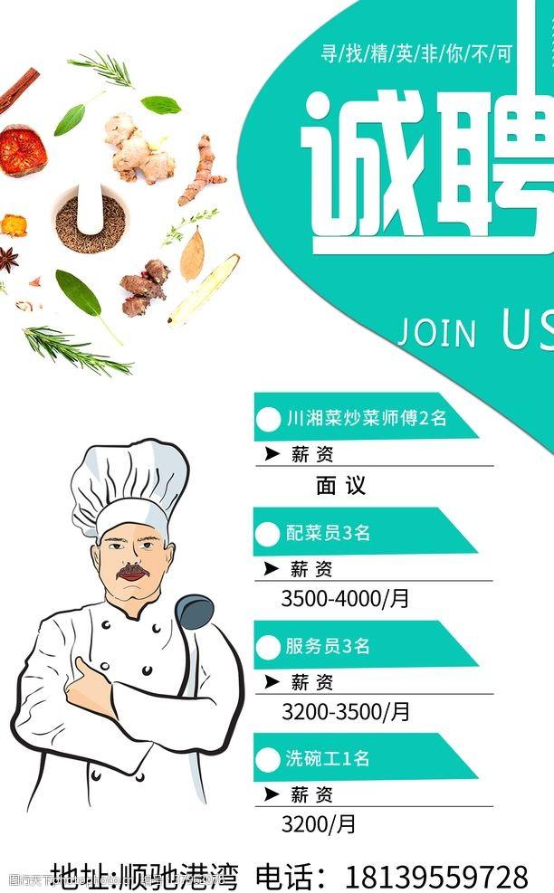 厨师卡通人物饭店招聘