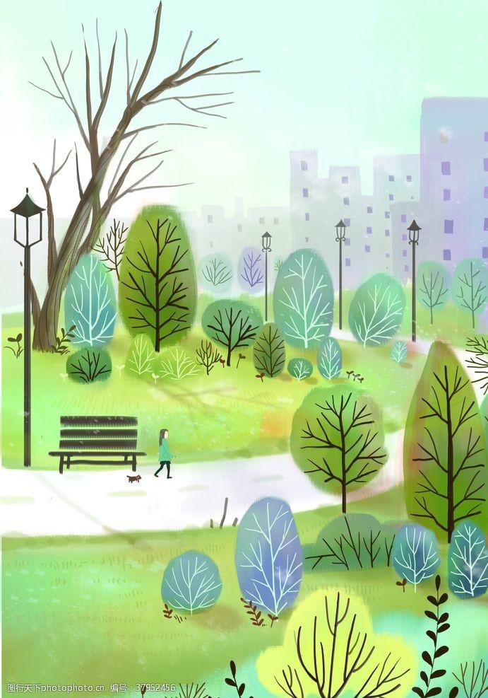 公园健身清新城市插画背景