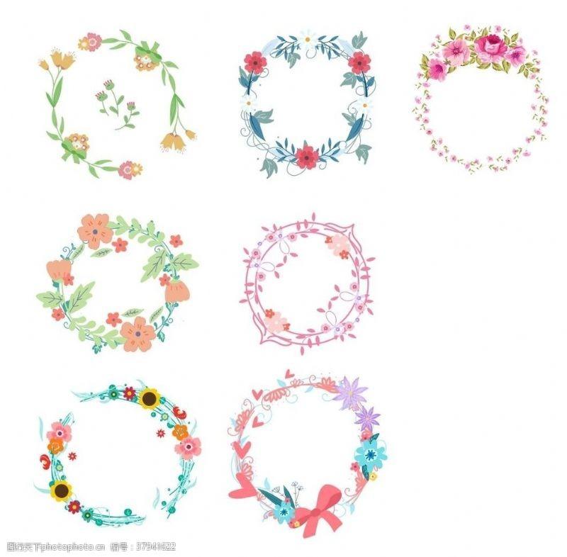 春天花朵花环