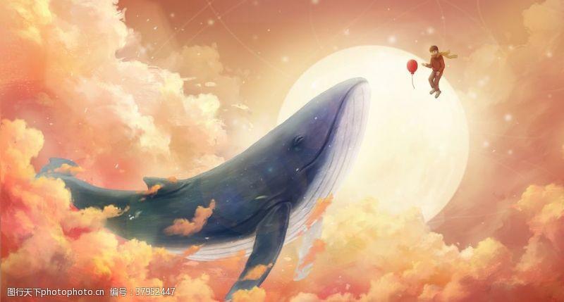 鲸鱼天空梦幻插画卡通背景