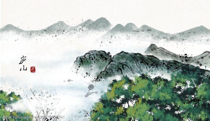 庐山景点风景国风插画卡通背景