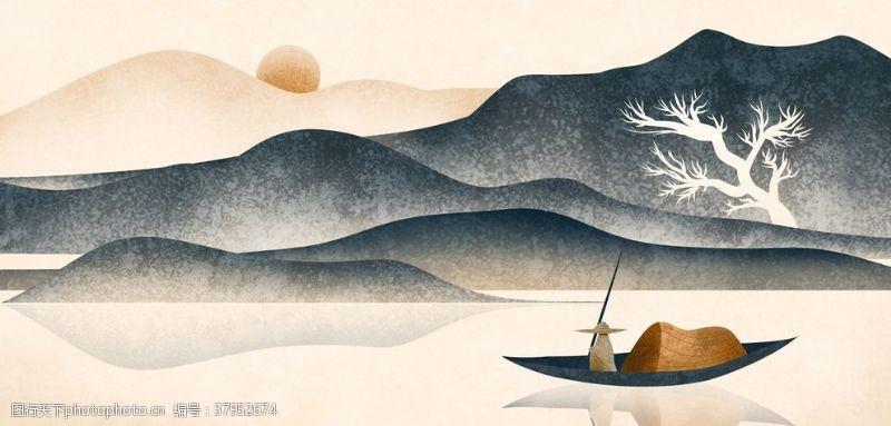 山水水墨水彩国风传统背景素材
