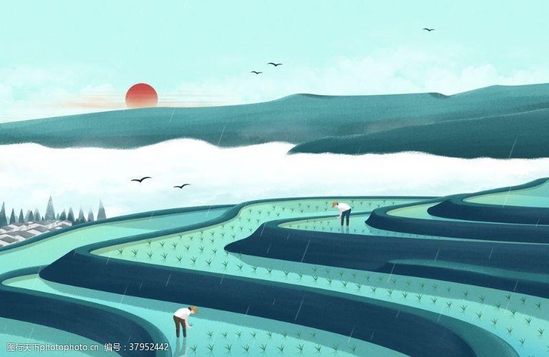 梯田清新传统国风插画卡通背景