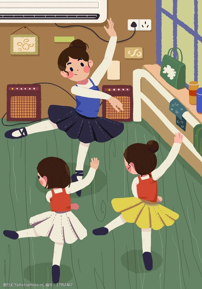 舞蹈教室人物清新插画背景