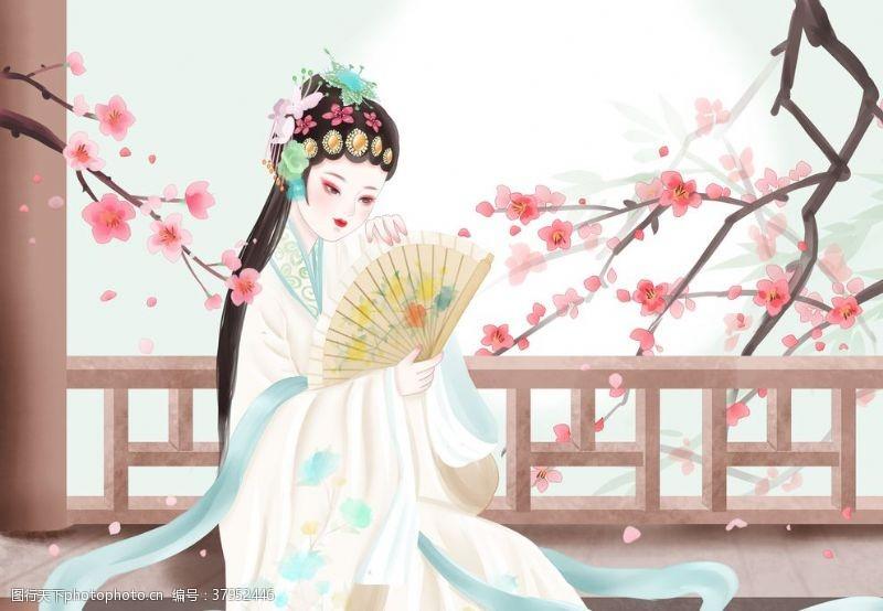 戏曲人物传统国风插画卡通背景