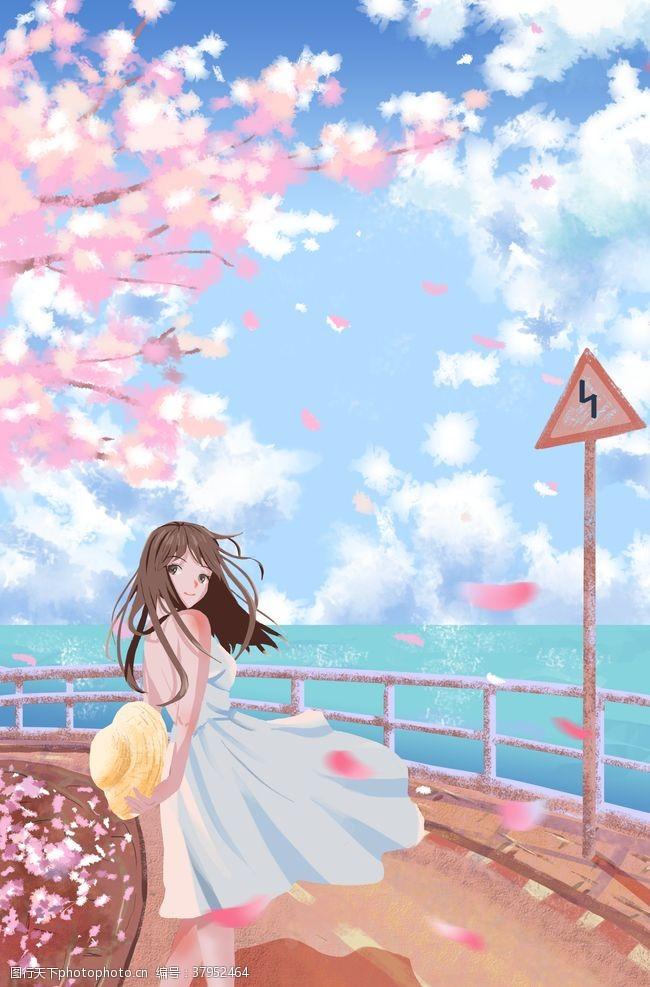 樱花少女海边清新插画背景