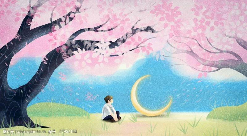 樱花树人物春季清新插画卡通背景
