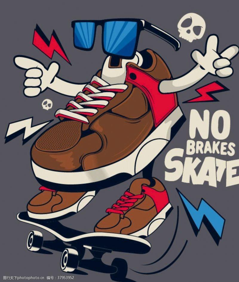 外贸服装滑板鞋子