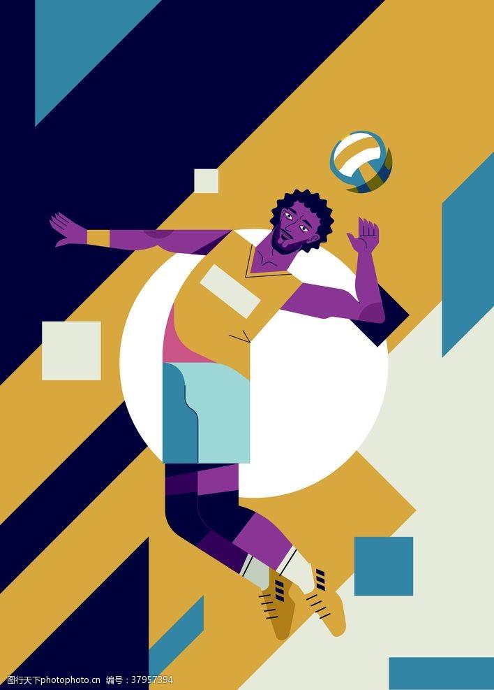 海报设计排球运动卡通海报