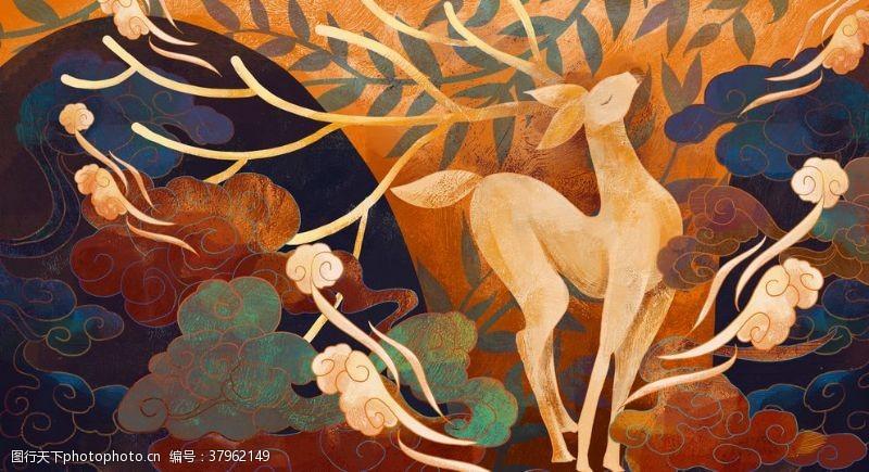 森林小鹿敦煌壁画插画卡通背景