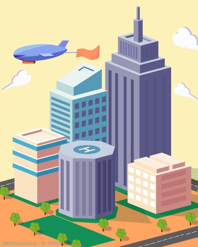 背景素材城市模型立体建筑插画背景