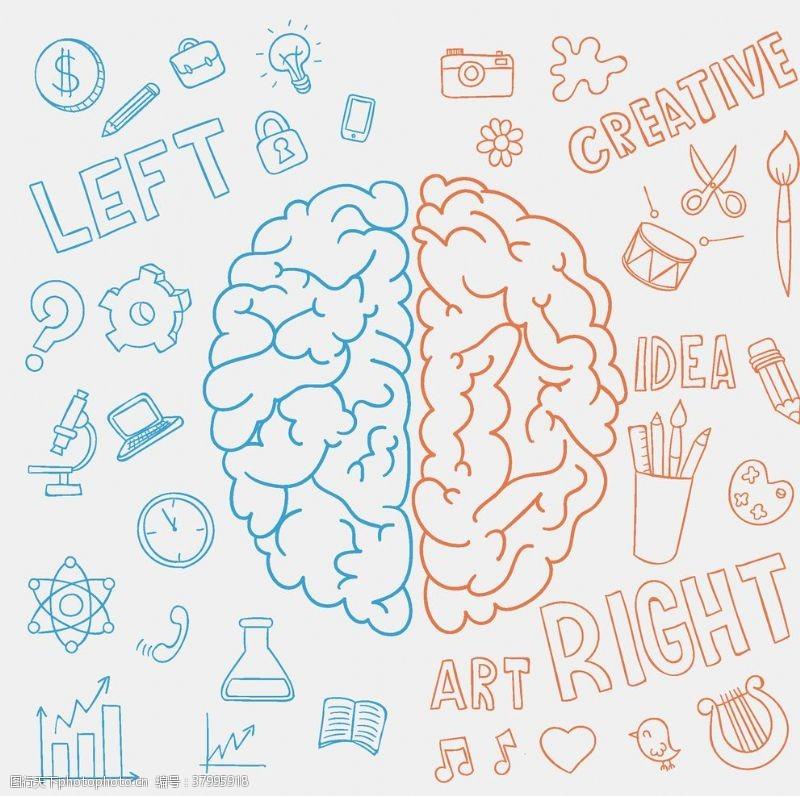 创意个性创意手绘大脑素材