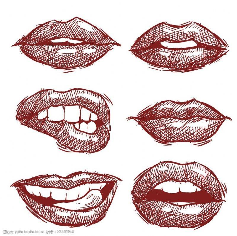 创意个性创意手绘嘴唇素材