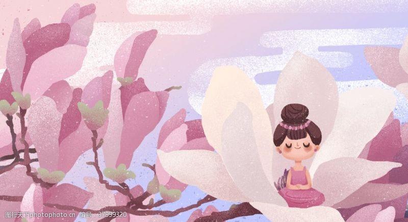 背景素材花瓣花朵仙女国风插画背景