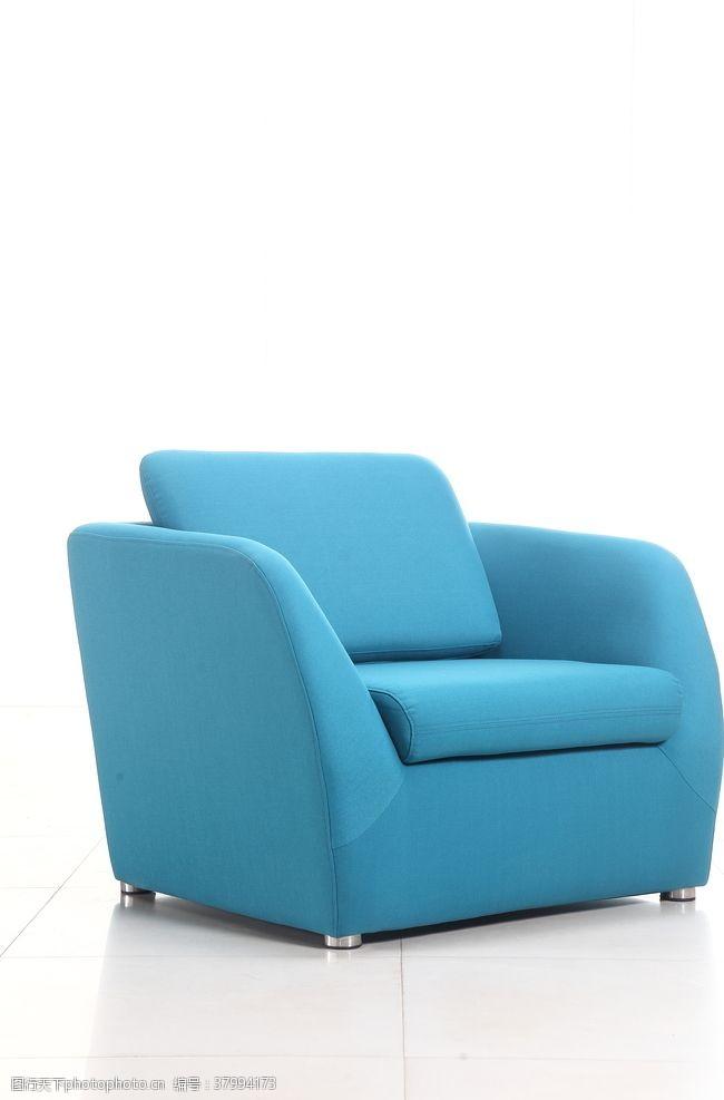 350dpi蓝色单人沙发