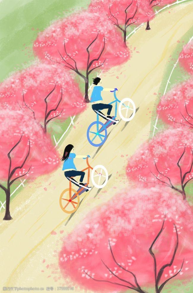 背景素材旅游户外骑车人物清新插画背景