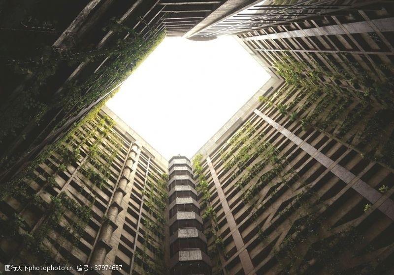 建筑园林内部建筑发光