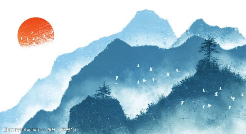 山水国风传统插画背景素材