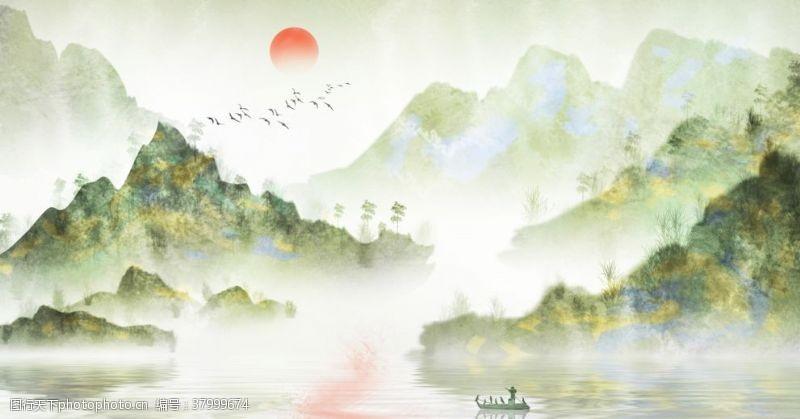 山水国风古风传统插画背景素材