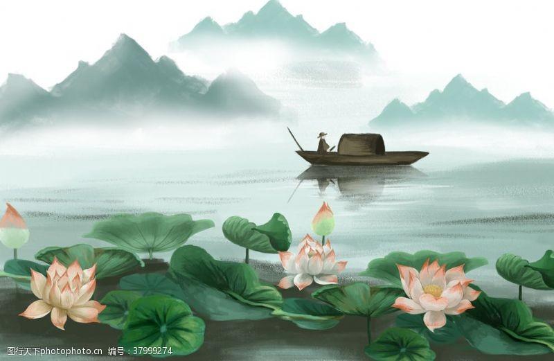 山水荷花传统插画背景素材