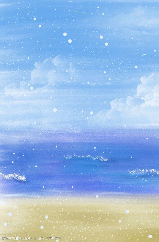 大海手绘海边
