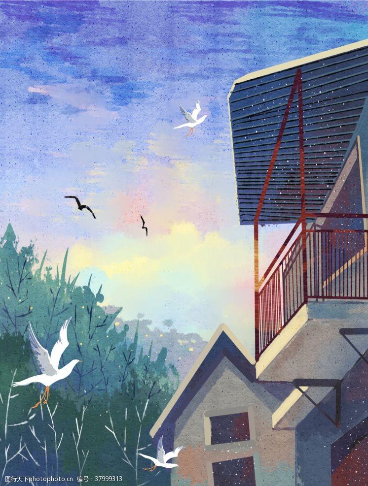 背景素材屋顶天空郊外飞鸟清新插画背景